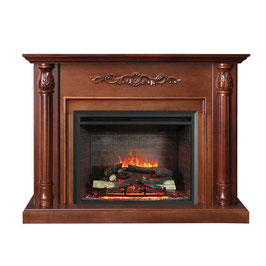 NEW BROWN 2000W ELECTRIC FIREPLACE WOOD MANTEL SUITE WITH FLAME EFFECT WOOD LOGS