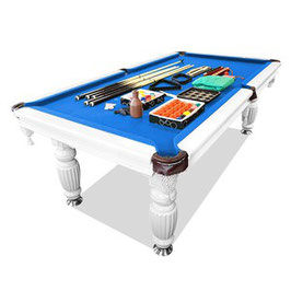 New! 8ft Luxury Blue Felt White Frame Slate Solid Timber Billiards/pool Table Up To 65% Off