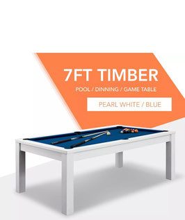 **BRAND NEW!** 7ft White Frame Blue Felt Cloth Dining Pool Table | FREE DELIVERY!