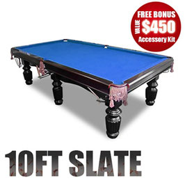 10FT LUXURY BLUE FELT SLATE POOL/SNOOKER/BILLIARD TABLE!