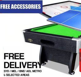 All In One! 7FT Pool Table, Air Hockey and Ping Pong Top! (Green Felt) FREE DELIVERY!