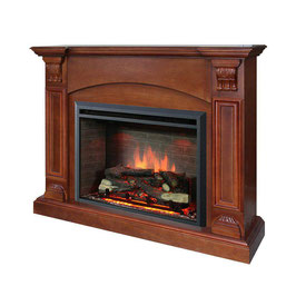 NEW BROWN 2000W ELECTRIC FIREPLACE WOOD MANTEL SUITE WITH FLAME EFFECT WOOD LOGS SIMPLE DESIGN