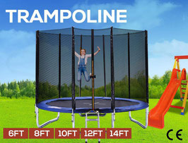 8ft Trampoline Round Trampolines Enclosure Safety Net Mat Pad Ladder