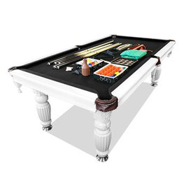 New! 8ft Luxury Black Felt White Frame Slate Solid Timber Billiards/pool Table Up To 65% Off