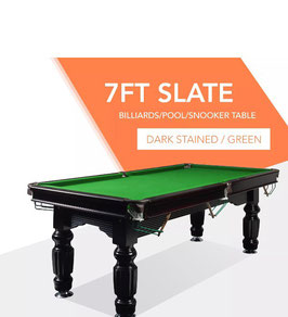 7ft Slate Solid Timber Pool Table Green Felt Black Beam | FREE DELIVERY!