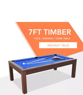 **BRAND NEW!** 7ft Walnut Frame Blue Felt Cloth Dining Pool Table | FREE DELIVERY!