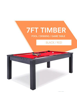 **BRAND NEW!** 7ft Black Frame Red Felt Cloth Dining Pool Table | FREE DELIVERY!