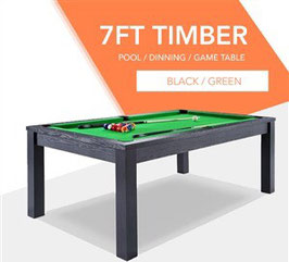 **BRAND NEW!** 7ft Black Frame Green Felt Cloth Dining Pool Table | FREE DELIVERY!