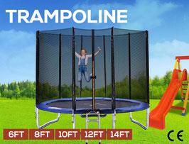 14ft Trampoline Round Trampolines Enclosure Safety Net Mat Pad Ladder