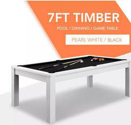 7ft White Frame Black Felt Cloth Dining Pool Table FREE DELIVERY!