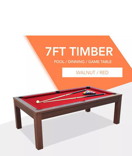 **BRAND NEW!** 7ft Walnut Frame Red Felt Cloth Dining Pool Table | FREE DELIVERY!