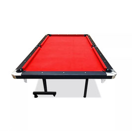 8ft Foldable MDF Pool Snooker Table Red Felt With Free Accessories