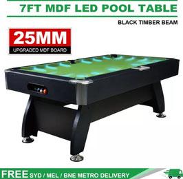 Green LED 7FT MDF Billiard/Pool/Snooker Table (Black Frame) | FREE DELIVERY!