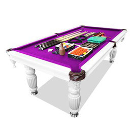 New! 8ft Luxury Purple Felt White Frame Slate Solid Timber Billiards/pool Table Up To 65% Off
