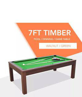 7ft Walnut Frame Green Felt Cloth Dining Pool Table FREE DELIVERY!