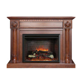 NEW BROWN 2000W ELECTRIC FIREPLACE WOOD MANTEL SUITE WITH FLAME EFFECT WOOD LOGS CLASSIC DESIGN