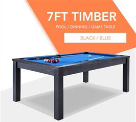 **BRAND NEW!** 7ft Black Frame Blue Felt Cloth Dining Pool Table | FREE DELIVERY!