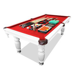 New! 8ft Luxury Red Felt White Frame Slate Solid Timber Billiards/pool Table Up To 65% Off