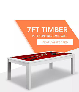 **BRAND NEW!** 7ft White Frame Red Felt Cloth Dining Pool Table FREE DELIVERY!