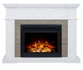 """Hudson 2000W Electric Fireplace Heater Stone Veneer Mantel Suite With 30"""" Moonlight Insert"""