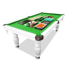 8ft Luxury Green Felt White Frame Slate Solid Timber Billiards/Pool Table