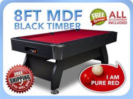 8FT MDF Timber Red Snooker / Billiard Pool Table Full Accessories | FREE DELIVERY!