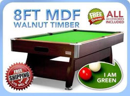 8FT MDF Timber Green Snooker / Billiard Pool Table Full Accessories | FREE DELIVERY!