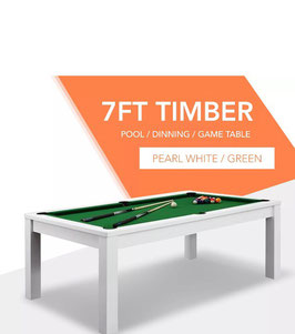**BRAND NEW!** 7ft White Frame Green Felt Cloth Dining Pool Table | FREE DELIVERY!
