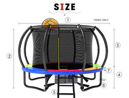 Pop Master 12 Ft Rainbow Trampoline With Shade Cover Basketball Hoop