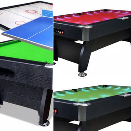 All In One! 7FT LED Pool Table, Air Hockey and Ping Pong Top! (Red Felt) | FREE DELIVERY!