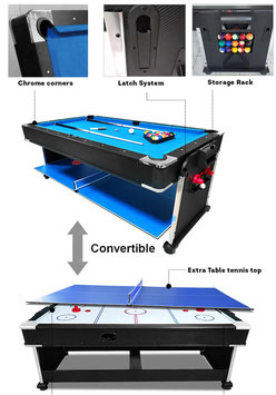 7FT 3-IN-1 Convertible Air Hockey Pool Table / Ping Pong Top Free Accessories AU*