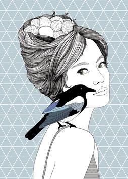 Postkarte 'Vogeldame'