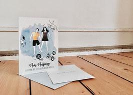 Hochzeitskarte 'Aus der Mitte'