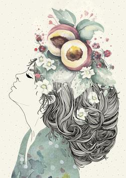 Postkarte 'peachlady'