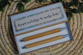 Boligrafo + estuche doble bambú