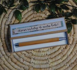 Boligrafo + estuche bambú