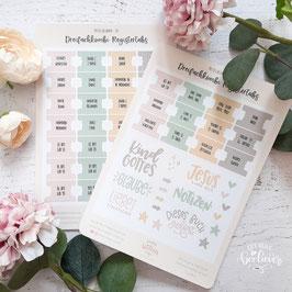 Register-Tabs & Sticker für Dreifachkombi -Pastellblumen Set