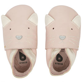 Chaussons cuir Chat rose pale BOBUX