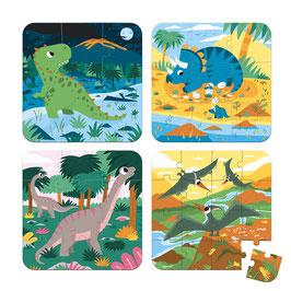 4 puzzles évolutifs Dinosaures +3ans JANOD