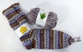 Color Socken / Braun-Flieder-Beige