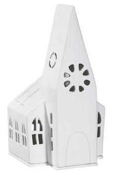RÄDER Lichthaus Kleine Kirche 18 cm Porzellan weiss Windlicht