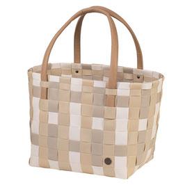 Handed By Shopper Color Block ecru white mix Einkaufstasche Strandtasche