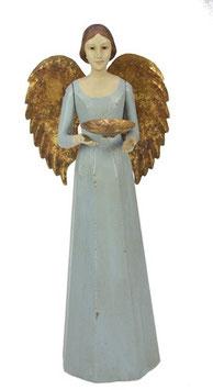 Engel Figur 36 cm hellblau mit Flügel Teelichthalter Antik-Finish Holz/Metall Shabby