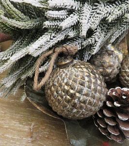 Weihnachtskugel Christbaumkugel 8 cm Shabby Raute groß Nostalgie Weihnachtschmuck Dekokugel