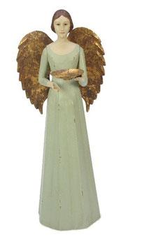 Engel Figur 36 cm hellgrün mit Flügel gold Teelichthalter Antik-Finish Holz/Metall Shabby