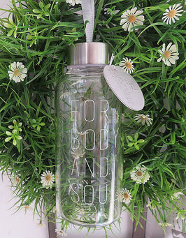 """RÄDER Design Glasflasche Trinkflasche Balance """"For Body and Soul"""" 450 ml"""