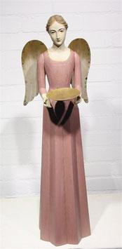 Engel Figur 75 cm rosè mit Flügel Teelichthalter Antik-Finish Holz/Metall Shabby