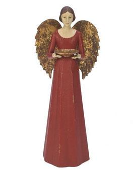 Engel Figur 36 cm rot mit Flügel Teelichthalter Antik-Finish Holz/Metall Shabby