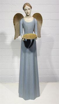 Engel Figur 75 cm hellblau mit Flügel Teelichthalter Antik-Finish Holz/Metall Shabby
