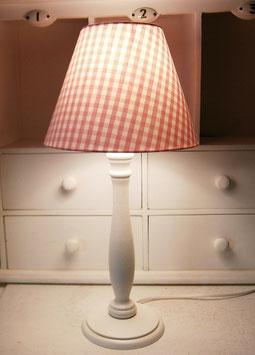 Tischlampe Tischleuchte weiß pink Karo Lampenfuß Holz Shabby Stofflampenschirm